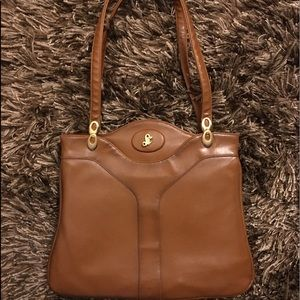 Lou Taylor Vintage Brown Tan Leather Purse